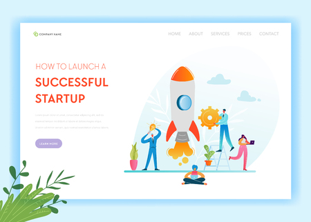 Business Startup Landing Page Template. Investment, Career Boost and Strategy Banner with Business People Characters Launches Rocket. Teamwork Innovation Web Page. Vector illustration Ilustração