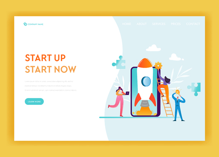 Business Startup Landing Page Template. Mobile Technology and Strategy Banner with Business People Characters Launches Rocket Using Smartphone. Teamwork Innovation Web Page. Vector illustration Ilustração