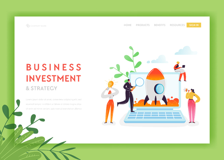 Business Startup Landing Page Template. Investment and Strategy Banner with Characters Launches Rocket Using Laptop. Teamwork Innovation Web Page. Vector illustration