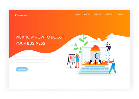Business Startup Landing Page Template. Investment, Career Boost and Strategy Banner with Characters Launches Rocket Using Laptop. Teamwork Innovation Web Page. Vector illustration