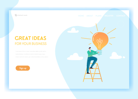 Creative Idea and Business Solutions Landing Page Template. Brainstorming and Innovation Concept with Businessman Character and Light Bulb for Web Page and Website. Vector illustration