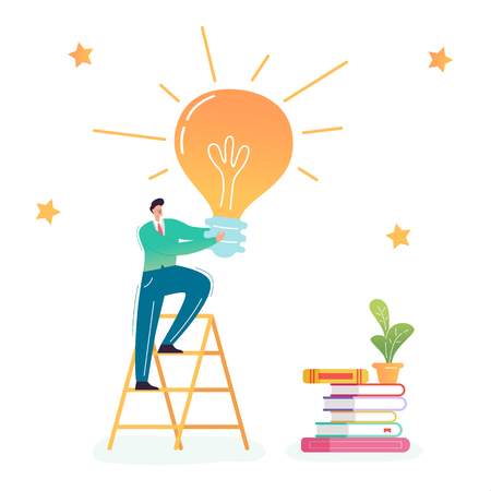 Businessman Climbing on Ladder with Big Light Bulb. Creative Idea, Business Innovation, Imagination, Career Growth Concept. Vector illustration 일러스트
