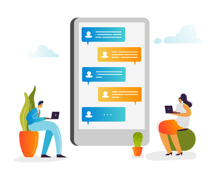Social Media Concept. Characters Chatting in Social Networks Using Laptop and Smartphone. Man and Woman Communicating Online with Mobile Devices. Vector illustration 일러스트