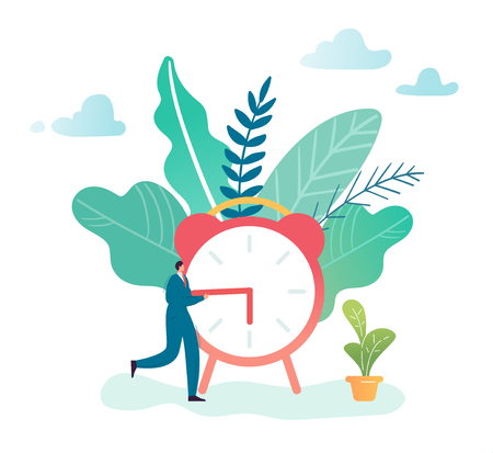 Time Management Business Process Optimization Concept. Businessman and Alarm Clock. Character productivity, efficiency, work rate. Vector illustration 일러스트