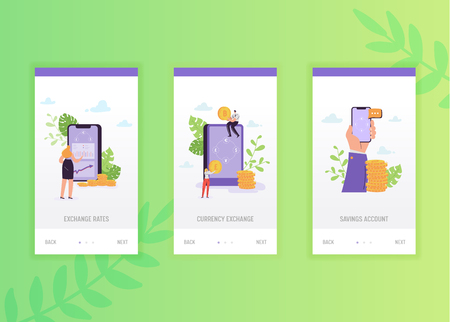 Finance internet banking onboarding screens template. Business characters transfer money using smartphone for mobile app design or website. Vector illustration