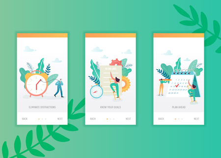 Time management onboarding screens template. Business people characters planning mobile app design. Scheduling concept for mobile applications or website. Vector illustration Illustration