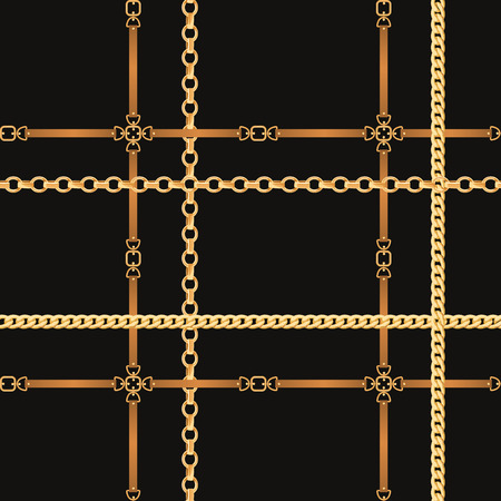 Chains and Belts Seamless Pattern. Fashion Background with Golden Chain and Leather Strap for Fabric, Textile, Wallpaper. Vector illustration