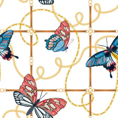 Chaînes d'or et papillons Seamless Pattern. Fond de mode de liens d'or avec papillon. Conception de tissu avec chaîne de bijoux pour textile, papier peint. Illustration vectorielle