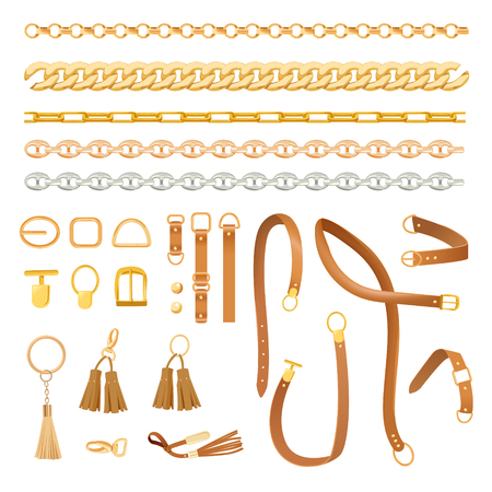 Chains and Belts Fashion Elements Set. Fashionable Collection with Braid, Golden Chain and Strap for Fabric, Textile and Pattern. Vector illustration