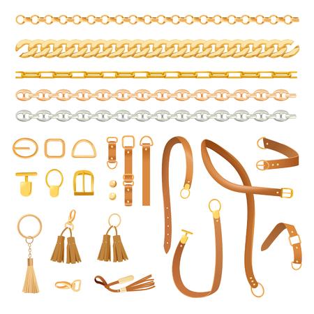 Conjunto de elementos de moda cadenas y cinturones. Colección de moda con trenza, cadena dorada y correa para tela, textil y patrón. Ilustración vectorial