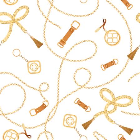 Moda de patrones sin fisuras con cadenas de oro y correas. Fondo de elementos de cadena, trenza y joyería para diseño de tela, textil, papel tapiz. Ilustración vectorial