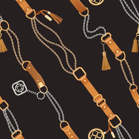 Fashion Seamless Pattern with Golden Chains and Straps. Chain, Braid and jewelry Accessories Background for Fabric Design, Textile, Wallpaper. Vector illustration Ilustración de vector