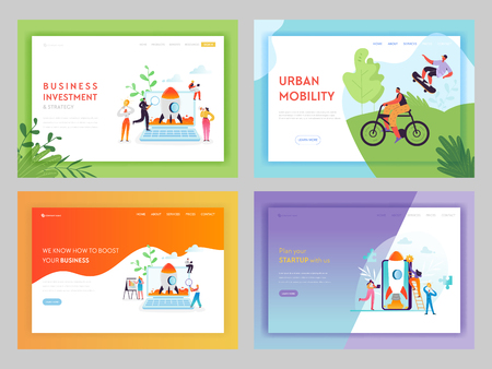 Business Investment Startup Landing Page Template. Career Boost Concept with Characters Launches Rocket Using Mobile Devices for Website or Web Page. Vector illustration