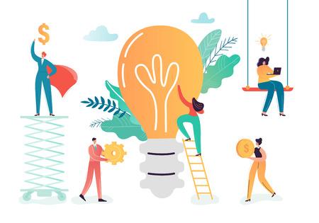 Équipe de personnages d'affaires travaillant sur une idée créative. Concept d'innovations de travail d'équipe. Processus de remue-méninges avec les gens d'affaires et l'ampoule. Illustration vectorielle Vecteurs