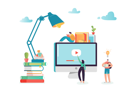 Online Education Concept with Students Characters Learning on Webinar. E-learning Technology, Internet Library, Graduation, Training Courses. Vector illustration Ilustração