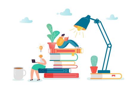 Personnages homme et femme lisant des livres. Des gens plats assis sur une pile de livres. Éducation, concept de littérature de bibliothèque avec les étudiants qui apprennent. Illustration vectorielle