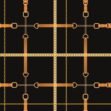 Modèle sans couture de mode avec des chaînes et des sangles dorées. Éléments de chaîne, de tresse et de bijoux Arrière-plan pour la conception de tissus, le textile, le papier peint. Illustration vectorielle
