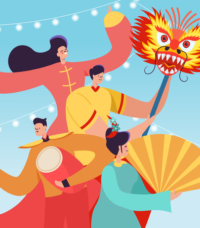 Chinese People celebrating Lunar New Year. Lion Dragon dance women and men characters wearing china traditional costume on parade or carnival. Vector illustration