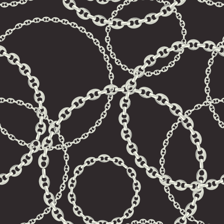 Fashion Seamless Pattern with Silver Chains. Fabric Design Background with Chain, Metallic accessories and Jewelry for Wallpapers, Prints. Vector illustration