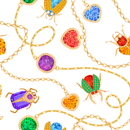 Golden Chains and Brooch with Gemstones Seamless Pattern. Jewelry Emeralds, Gold Accessories, Gems and Diamonds Fashion Pattern for Fabric Textile. Vector illustration