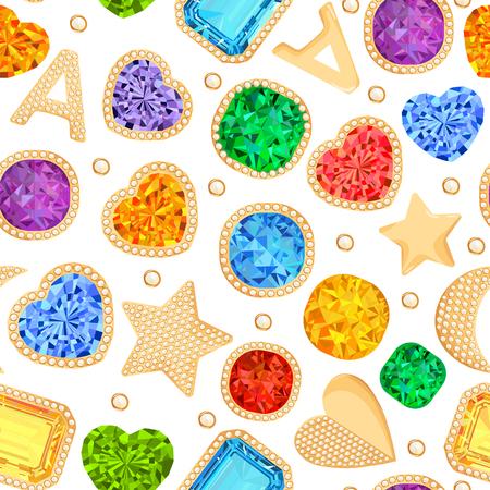 Bijoux pierres précieuses et accessoires dorés Seamless Pattern. Fond de mode avec des bijoux de luxe, des diamants, des émeraudes, des rubis et des cristaux. Illustration vectorielle Vecteurs