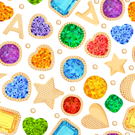 Jewelry Gemstones and Golden Accessories Seamless Pattern. Fashion Background with Luxury Jewels, Diamonds, Emeralds, Rubies and Crystals. Vector illustration Vetores