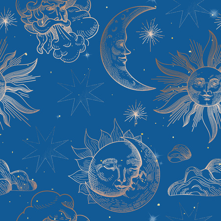 Reticolo senza giunte dell'annata di sole e luna. Sfondo in stile orientale con stelle e simboli astrologici celesti per tessuto, carta da parati, decorazione. Illustrazione vettoriale