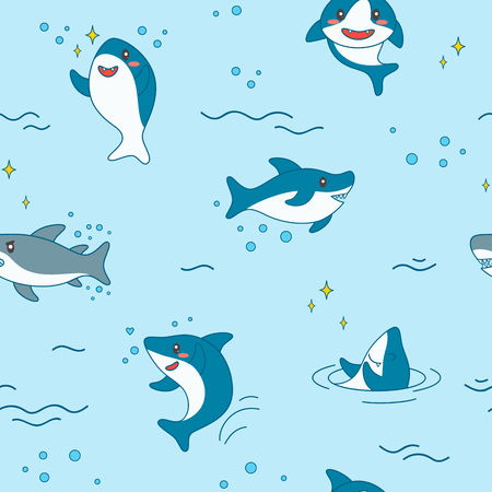 Kawaii Shark Seamless Pattern. Cute Funny Sharks Nautical Background with Sea Creatures and Marine Life for Wallpaper, Decoration. Vector illustration