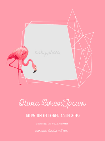 Baby Arrival Announcement with Illustration of Beautiful Flamingo, place for Baby photo and name, Greetings or Invitation Card, Geometric Floral Frame in vector