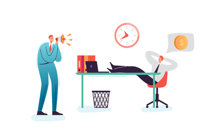 Lazy Businessman Sleeping at Work Office. Exhausted Man Character Relaxing Behind his Desk. Angry Boss Shouting with Megaphone. Vector illustration 일러스트