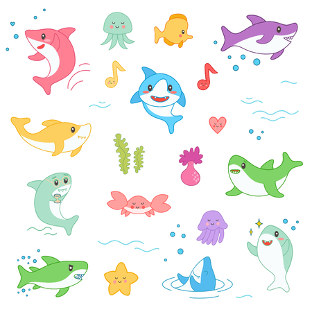 Kawaii Marine Creatures Collection. Funny Cute Fish Cartoon Character Set for Nursery Baby Kid Design, Decoration, Patches, Badges. Vector illustration