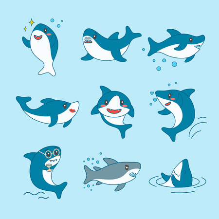 Kawaii Sharks Collection. Funny Cute Fish Cartoon Character Set for Nursery Kid Design, Decoration. Marine Creatures Patches, Badges. Vector illustration