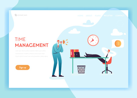 Business Overtime Landing Page Template. Working Late Concept with Lazy Office Worker and Boss Screaming in Megaphone for Website Banner. Vector illustration