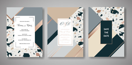 Terrazzo Wedding Invitation Card Set. Luxury Geometric Abstract Design Template for Greetings, Banner, Poster with Marble Texture. Illusztráció