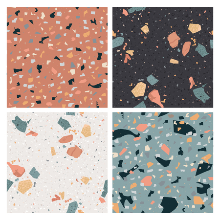 Terrazzo Seamless Pattern Set. Flooring Abstract Background Marble Texture Composed of Granite, Stone, Quartz Fragments and Concrete. Vector illustration