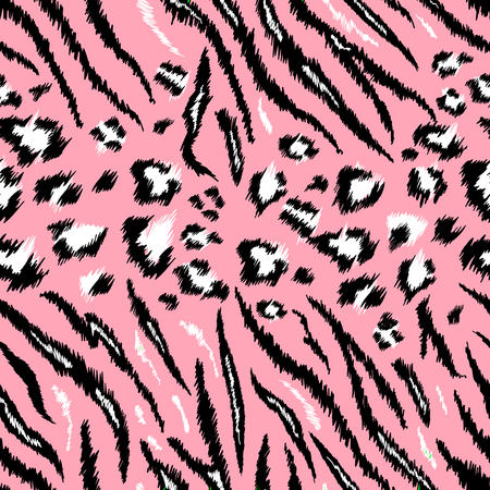 Tiger Leopard Texture Seamless Animal Pattern. Striped Fabric Background Wild Animals Skin Fur. Fashion Pink Abstract Design Print for Wallpaper, Decor. Vector illustration