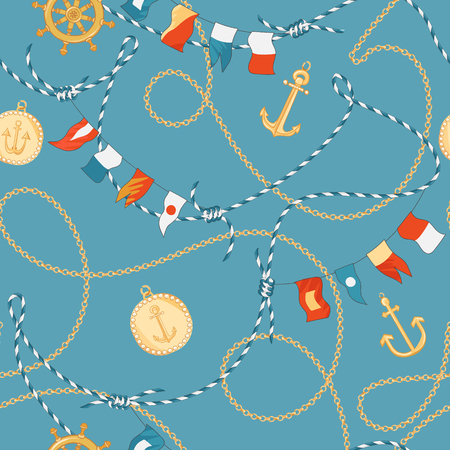 Fashion Seamless Pattern with Golden Chains and Anchor for Fabric Design. Marine Background with Rope, Knots, Flags and Nautical Elements. Vector illustration