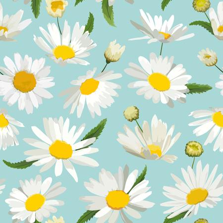 Floral Pattern sans couture avec des fleurs de camomille. Fond naturel avec des fleurs de marguerite pour le papier peint design printemps été, décoration, impression. Illustration vectorielle