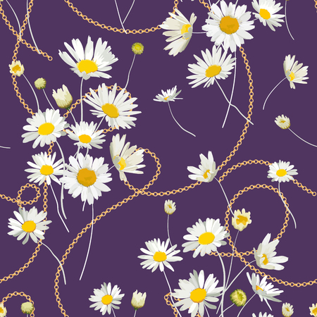 Fashion Seamless Pattern with Golden Chains and Daisy Flowers. Fabric Textile Floral Print with Chamomile and Jewelry Elements. Vector illustration