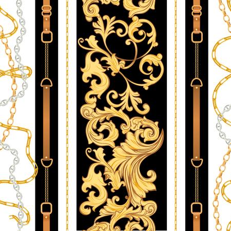 Modèle sans couture de tissu de mode avec des chaînes, des ceintures et des courroies d'or. Design de mode de fond baroque de luxe avec éléments de bijoux pour textile, papier peint, écharpe. Illustration vectorielle Vecteurs