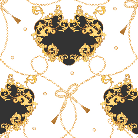 Fashion Fabric Seamless Pattern with Golden Chains. Luxury Baroque Background Fashion Design with Jewelry Elements for Textile, Wallpaper, Scarf. Vector illustration