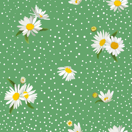 Floral Seamless Pattern with Blossom Daisy Flowers. Fabric Nature Spring Background with Chamomile for Textile, Wallpaper, Wrapping Design. Vector illustration Çizim
