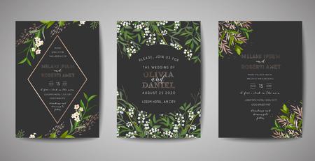 Set of Wedding Invitation, floral invite, thank you, rsvp rustic card design with gold foil decoration. Vector elegant modern template on black background