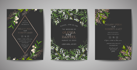 Set of Wedding Invitation, floral invite, thank you, rsvp rustic card design with gold foil decoration. Vector elegant modern template on black background