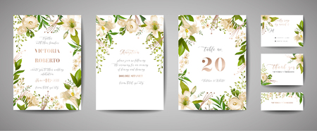 Floral wedding set of cards invitation, rsvp, thank you, reception, save the date, template design, trendy cover, graphic poster, retro brochure with white lily flowers and gold foil elements in vector