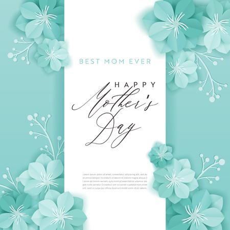 Bannière de vacances heureuse fête des mères. Carte de voeux fête des mères Bonjour printemps papier découpé Design avec fleurs et affiche de typographie d'éléments floraux. Illustration vectorielle Vecteurs