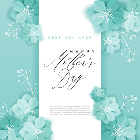 Happy Mothers Day Holiday Banner. Mother Day Greeting Card Hello Spring Paper Cut Design with Flowers and Floral Elements Typography Poster. Vector illustration Иллюстрация