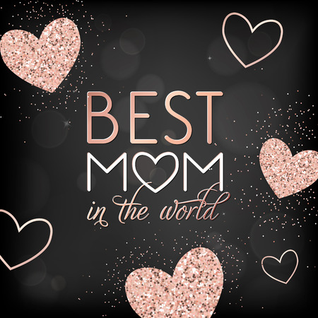 Mothers Day Banner Template with Golden Glitter Hearts and Best Mother Text. Mother Day Greeting Card Calligraphy Design with Glowing Elements. Vector illustration Çizim