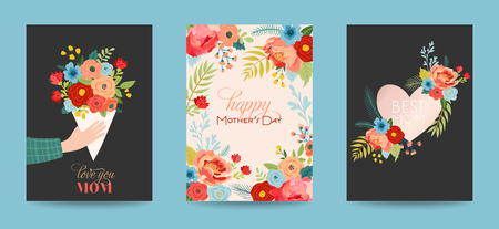 Mothers Day Greeting Card Set with Flowers Bouquet. Happy Mother Day Floral Banner. Best Mom Poster, Flyer Spring Celebration Design. Vector illustration