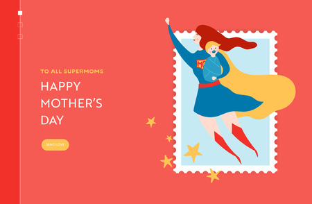 Mothers Day Sale Banner with Superhero Mother for Landing Page. Illustration